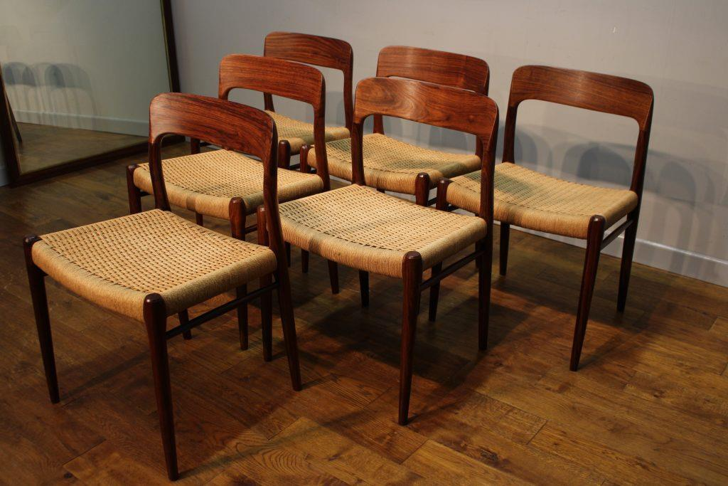 6 Niels Moller Rosewood Dining Chairs Model 75