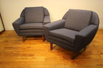Pair of Mid Century Danish Upholstered Armchairs