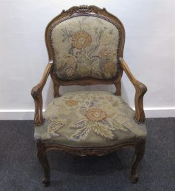 Antique Walnut and Needlepoint Fauteuil Armchair
