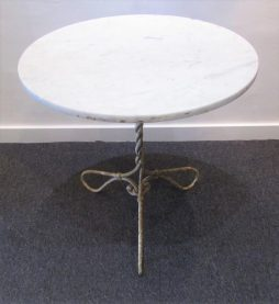 Antique French 19th Century Twisted Hand Wrought Iron Gueridon Table