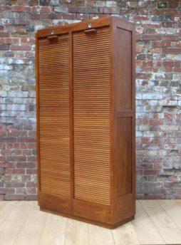 Art Deco Industrial Tambour Front Cabinet