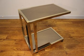 Stylish 1970s Chrome and Mirrored Glass Drinks Trolley