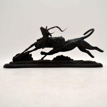 Tim Nicklin 1987 Polybronze Scultpture of Lioness Hunting Antelope - POA