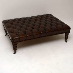 Large Deep Buttoned Leather Stool - POA