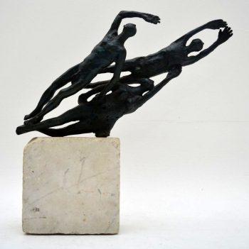 Mid-Century Bronze Sculpture of Swimmers