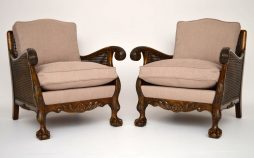 Pair of Finely Carved Antique Swedish Satin Birch Bergere Armchairs
