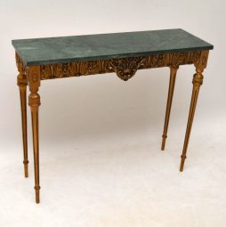 Antique French Marble Top Gilt Wood Side Table