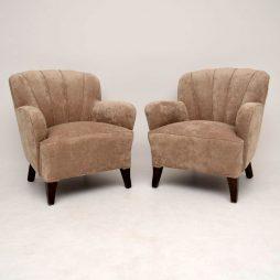 Pair of Art Deco Swedish Scallop Back Armchairs