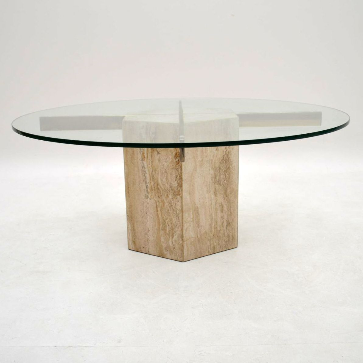 Retro Marble & Brass Coffee Table Vintage 1960's