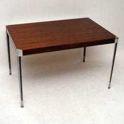 Danish Retro Rosewood & Steel Dining / Writing Table Vintage 1960's