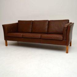 Danish Retro Leather Sofa Vintage 1960
