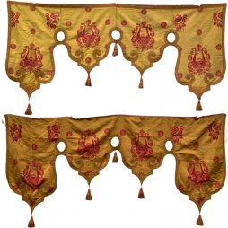 Pair of Embroidered Silk Pelmets