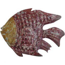 Painted Metal Fish Lantern from Seaport Restaurant