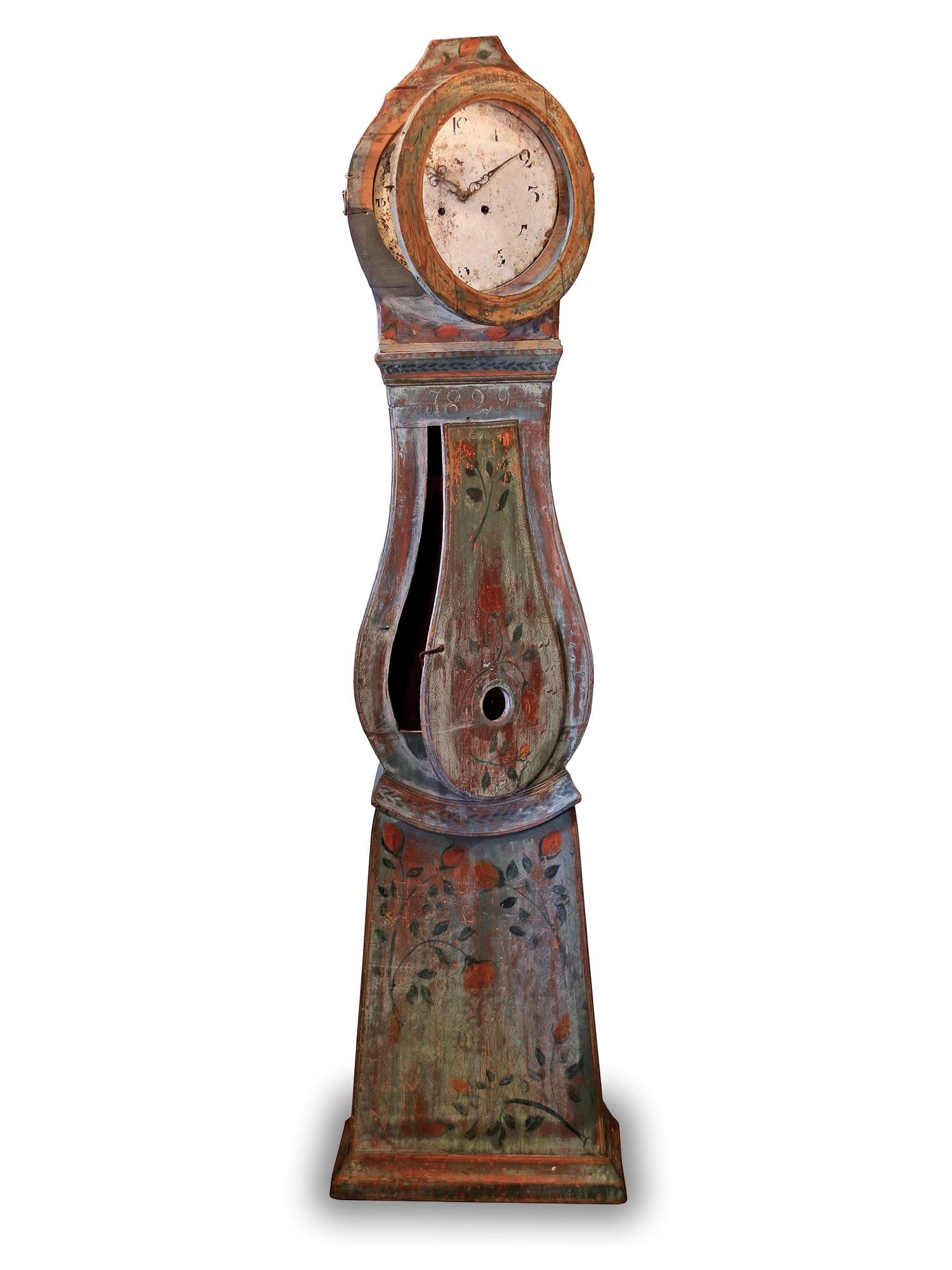 Antique Swedish Country Grandfather Clock Interior