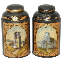 Antique Tea Tins with Mother of Pearl Scenes