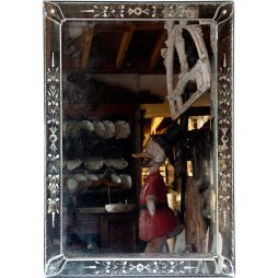 Bevelled Bar Mirror with Venetian Mirrored Frame