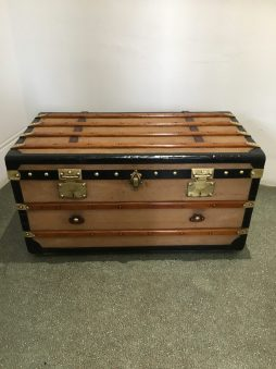 Antique 1900s French steamer trunk