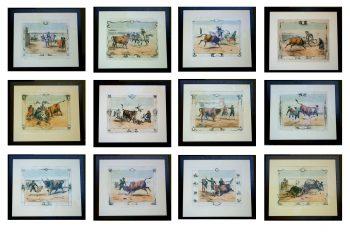 Set of 12 hand coloured Bullfight Engravings