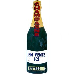 Giant Enamel Champagne Bottle Sign from France