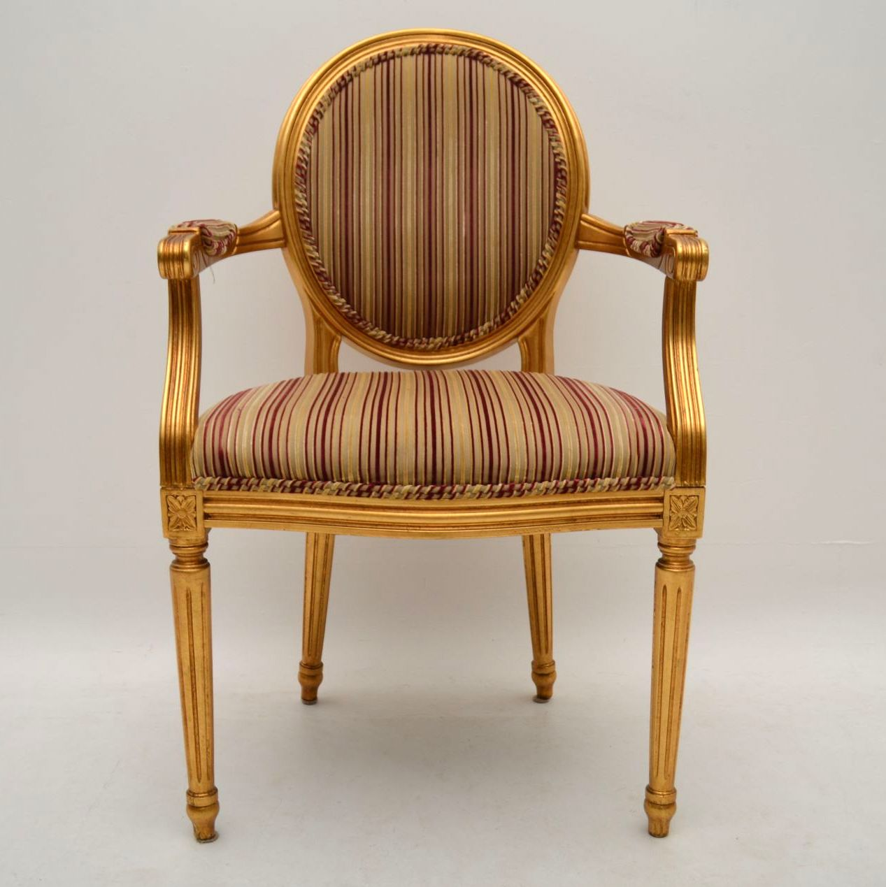 Set of ten antique french style gilt wood dining chairs for Modern french furniture