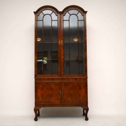 Antique Queen Anne Style Burr Walnut Display Cabinet