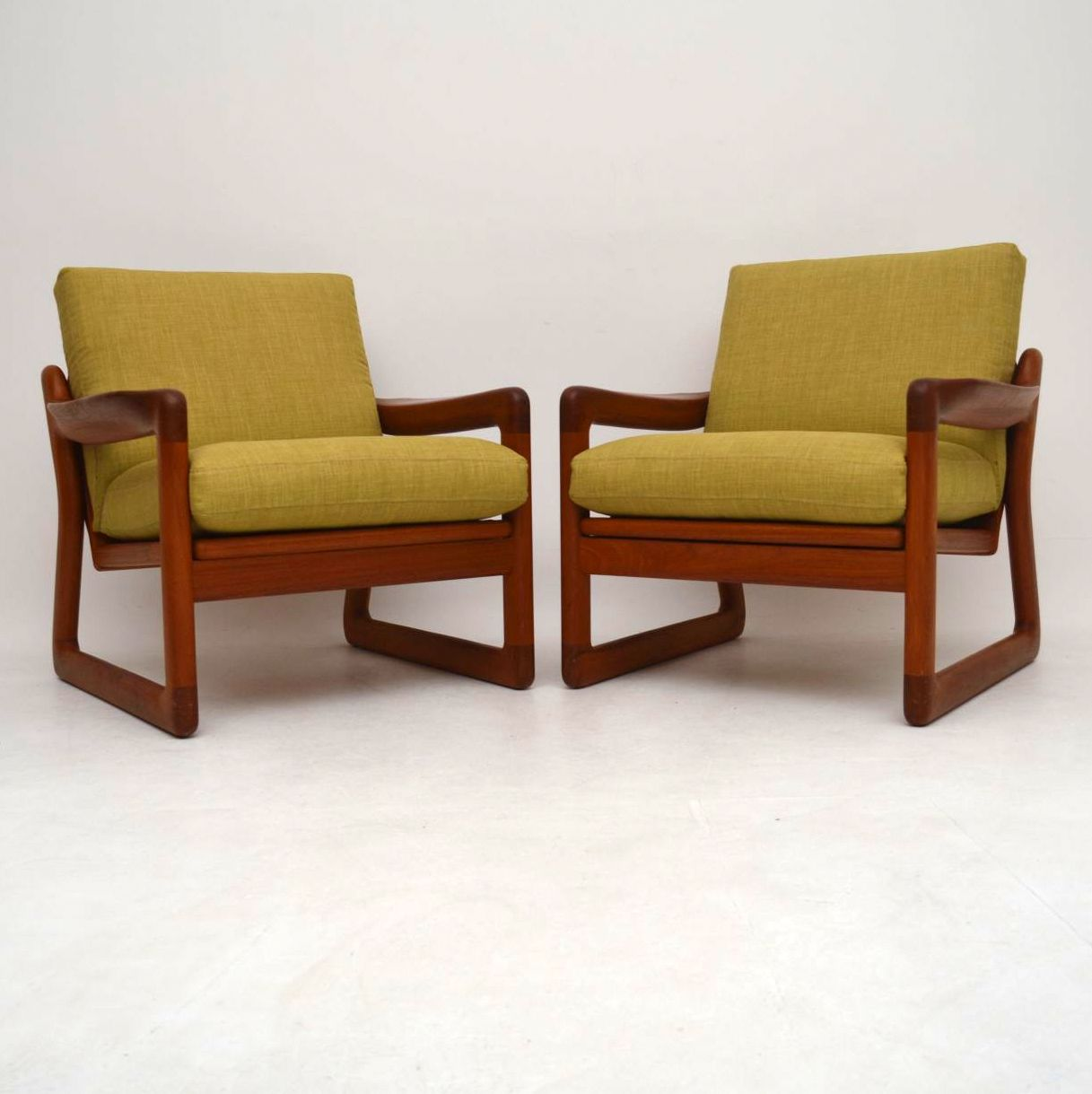 Pair of Danish Retro Solid Teak Armchairs Vintage 1970's ...