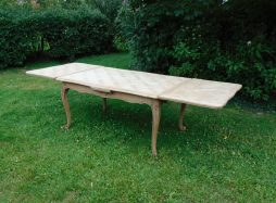 Large Bleached Oak Draw Leaf Dining Table