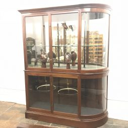 Victorian Single Bow Mahogany Jewellery Shop Cabinet