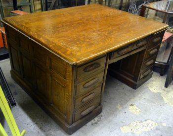 1930S Oak Partner's Desk