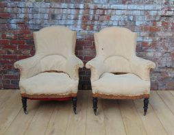 Pair 19c French Armchairs For Reupholstery
