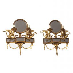 Neoclassical pair of wall sconces