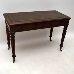 Antique Victorian Mahogany Leather Top Writing Table Desk