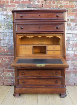 19th Century Satin Wood Secretaire Bureau Chest Of Drawers