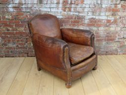 1930s French Leather Club Chair