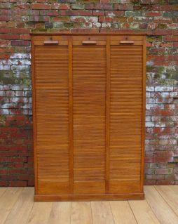 Art Deco Oak Industrial Haberdashery Cabinet