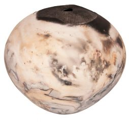 LARGE RAKU OVIOD POT FUNGOID FORM WITH A BURNISHED FINISH