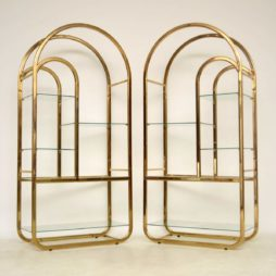 Pair of 1970's Vintage Italian Brass Display Cabinets