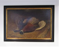 An oil on canvas of pheasants