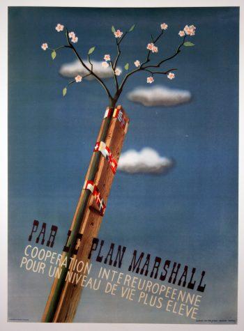 A rare original vintage Marshall Plan 'Par Le Plan Marshall' European Recovery Programme poster, 1950