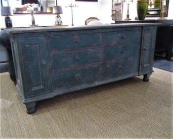 A large painted pine dresser base