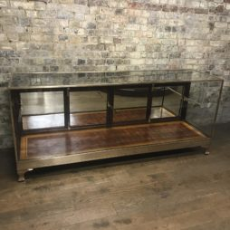 Antique brass and mahogany shop counter from Mappin & Webb