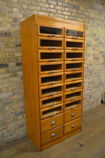 1920S Oak Haberdashery Drapers Shirt Cabinet