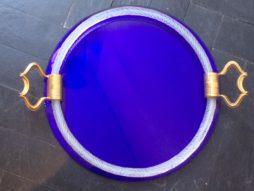 Italian Glass Tray with Murano Glass Rope