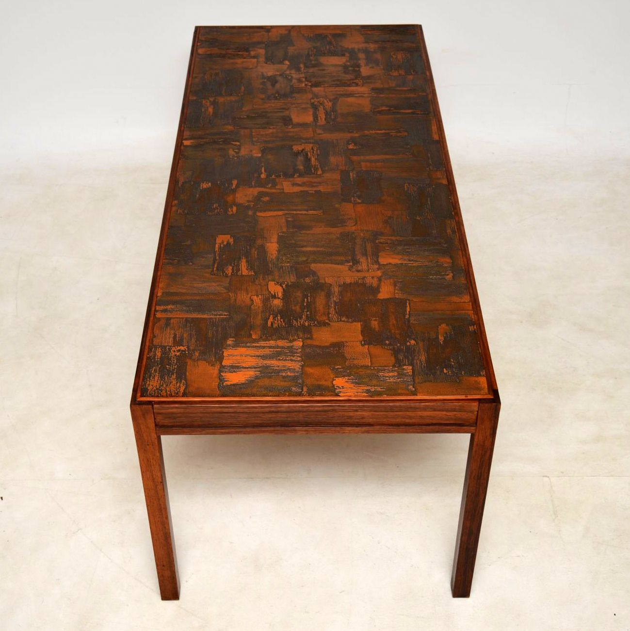 1960's Vintage Danish Wood & Copper Coffee Table