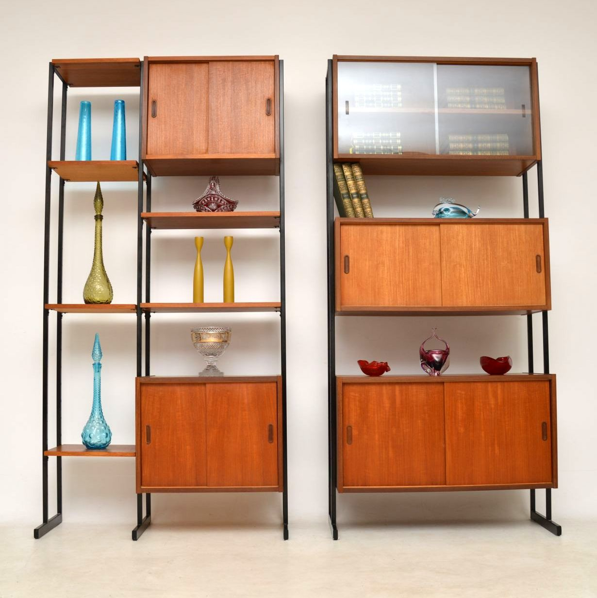 1960 S Vintage Pair Of Teak Wall Units Room Divider Cabinets