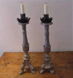 A pair of Italian silver gilt alter sticks