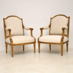 Pair of Antique French Gilt Wood Armchairs