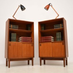 1960's Vintage Pair of Teak Open Bookcase Cabinets
