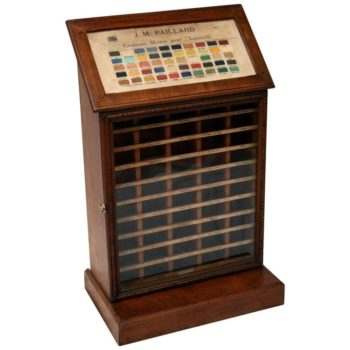 Antique Artist Paint Shop Display Cabinet