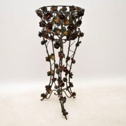 Antique Painted Wrought Iron Jardiniere Plant Stand